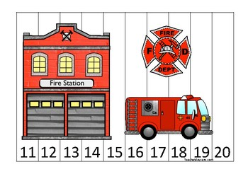 Firefighter themed 11-20 Number Sequence Puzzle Game. Printable Preschool