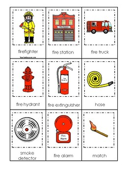 Firefighter themed 3 Part Matching Game.  Printable Preschool Game