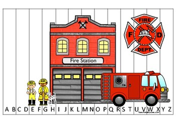 Firefighter themed Alphabet Sequence Puzzle Game. Printable Preschool Gam