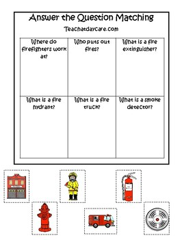 Firefighter themed Answer the Question Game.  Printable Preschool Game