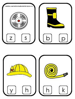 Firefighter themed Beginning Sounds Clip It Game.Printable Preschool Game
