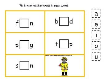 Firefighter themed CVC Game.  Printable Preschool Game