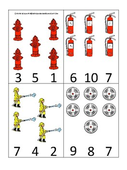 Firefighter themed Count and Clip Game.  Printable Preschool Game
