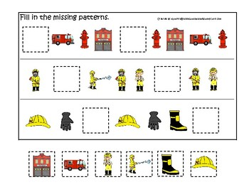 Firefighter themed Fill In the Missing Pattern Game. Printable Preschool Game