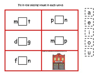 Firefighter themed Fire Station CVC Game.  Printable Preschool Game