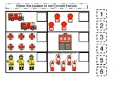 Firefighter themed Match the Number Game. Printable Preschool Game