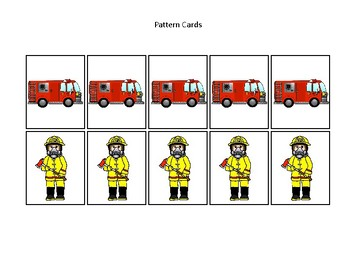 Firefighter themed Pattern Cards and Game Board. Printable Preschool Game