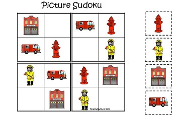 Firefighter themed Picture Sudoku Game. Printable Preschool Game