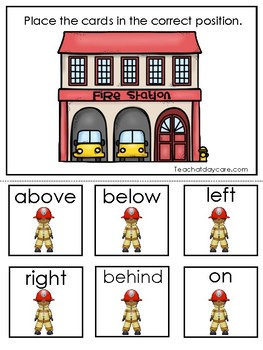 Professions-Firefighter themed Positional Word Game. Printable Preschool Game