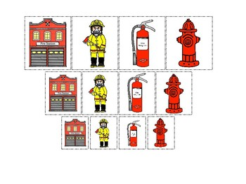Firefighter themed Size Sorting. Printable Preschool Game.