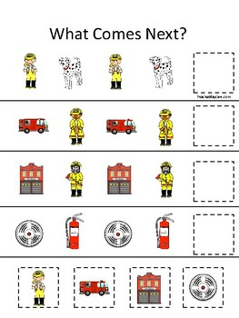 Firefighter themed What Comes Next. Printable Preschool Game