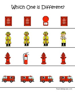 Firefighter themed Which One is Different. Printable Preschool Game