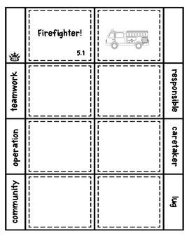 Firefighter! vocabulary flap book