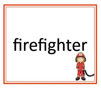 Firefighter word card