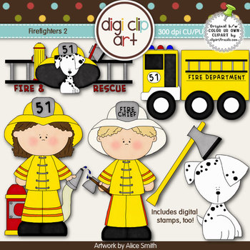 Firefighters 2-  Digi Clip Art/Digital Stamps - CU Clip Art