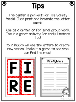 Firefighters (making words center)