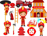 Firefighter's Clip Art fireman firefighter fire truck engine firetruck boy--046-
