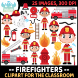 Firefighters Clipart, Instant Download Vector Art, Commercial Use Clip Art, Cute