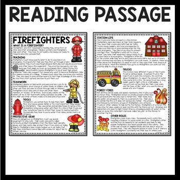Firefighters Overview Reading Comprehension Worksheet
