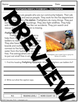 Firefighters • Reading Comprehension Passages and Questions • RL I & II