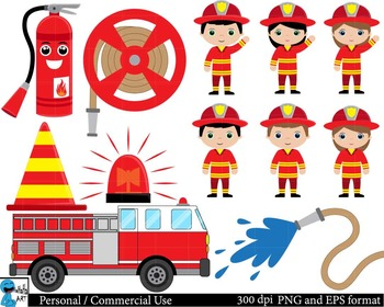 Firefighters Set Clipart Digital Clip Art Graphics 47 images cod26