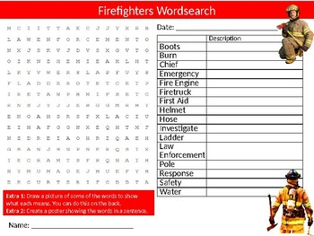 Firefighters Wordsearch Sheet Careers Starter Activity Keywords