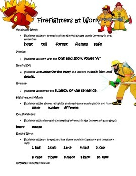 Firefighters at Work - Weekly Skill Sheet - 2nd Grade Treasures