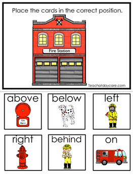 Firefighters themed Positional Game.  Printable Preschool Curriculum Game