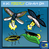 Fireflies: 8 pc. Clip-Art Set (BW and Color)