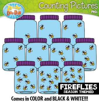 Fireflies Counting Pictures Clipart {Zip-A-Dee-Doo-Dah Designs}