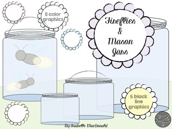 Fireflies and Mason Jars Clipart (Commercial Use)