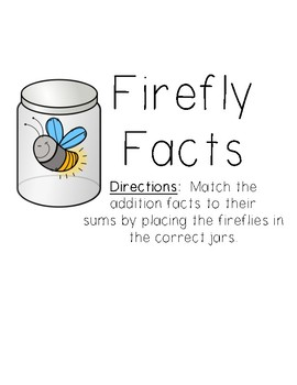 Firefly Facts - Addition File Folder Game and Worksheet