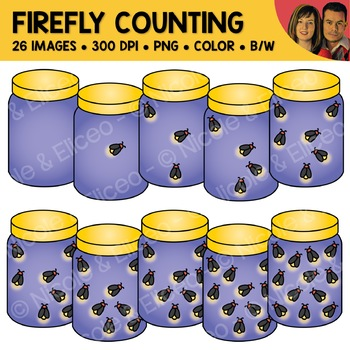 Firefly Jar Counting Scene Clipart