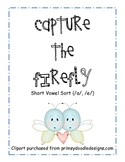 Firefly Word Work Activity - Short a Short e Picture Sort