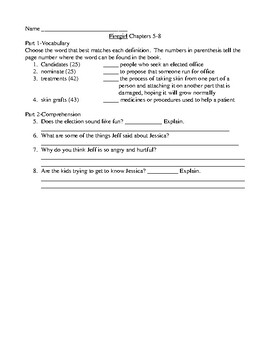 Firegirl Comprehension and Vocabulary Packet