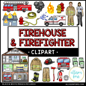 Firehouse & Firefighter Clip Art