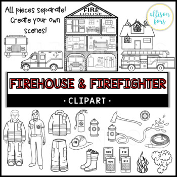 Firehouse and Firefighter Clip Art