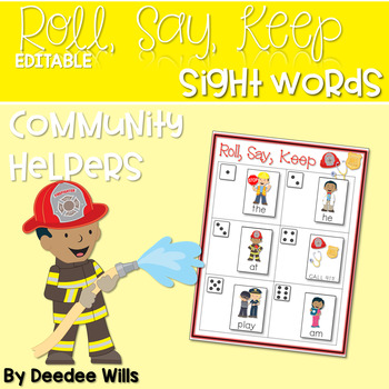 Community Helpers ABC and Sight Word  Roll, Say, Keep ~ Editable