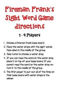 Fireman Frank's Sight Word Game