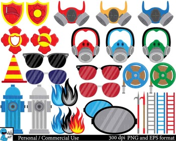 Fireman Props - Digital ClipArt, Personal, Commercial Use 154 images cod187