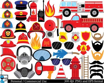 Fireman Props - Digital ClipArt, Personal, Commercial Use
