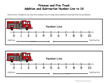 Fireman and Fire Truck Addition and Subtraction Match