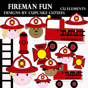 Fireman and Fire Truck Art Digital Set