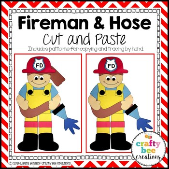 Fireman and Hose Cut and Paste