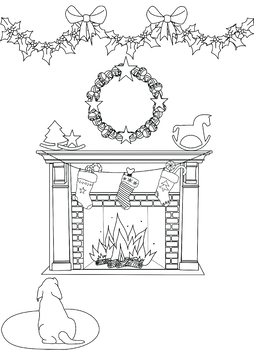 Fireplace Coloring Page from Ornaments of Love Coloring Book