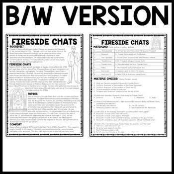Fireside Chats Reading Comprehension Worksheet, Great Depression, FDR