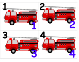 Firetruck Community Helper Center letter number matching Spanish included