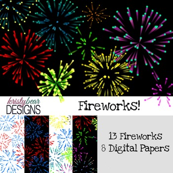 Firework Clipart and Digital Paper