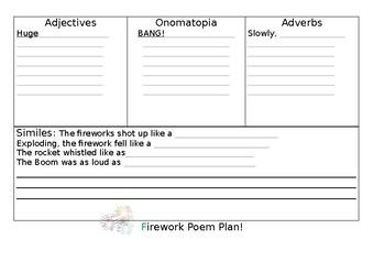 Firework poem planning sheet