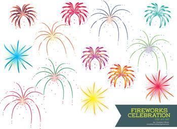 Fireworks Celebration Clip Art Set